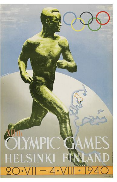 Olumpic poster showing male runner and globe, 1940