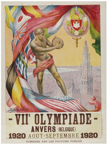 Poster showing statue, flags and view of Antwerp