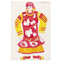 Russian woman in red dress with yellow sleeves. Costume design for 'Le Coq d'Or' (Costume design)