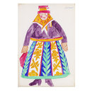 Russian woman with purple blouse, costume design for 'Le Coq d'Or' (Costume design)