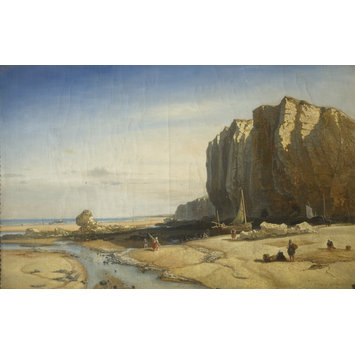 Oil painting - Rocky Coast with figures and boats
