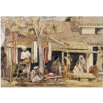 Painting - Dyers' and pan-sellers' shops in Pune
