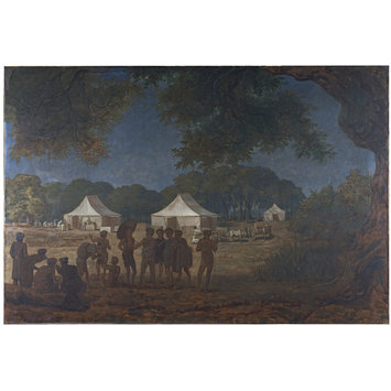 Oil painting - Setting up Camp