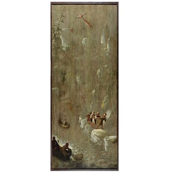 Oil painting - Fishermen in a Gorge (one of eleven panels of Chinoiserie decoration)
