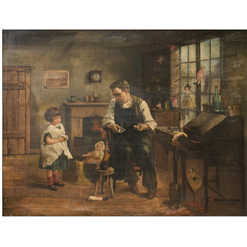 Oil painting - A Little Girl at the Toy-Mender's