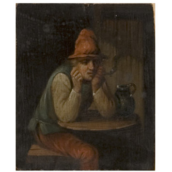 Oil painting - Man in a Red Hat Smoking a Pipe