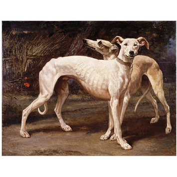 Oil painting - Two greyhounds