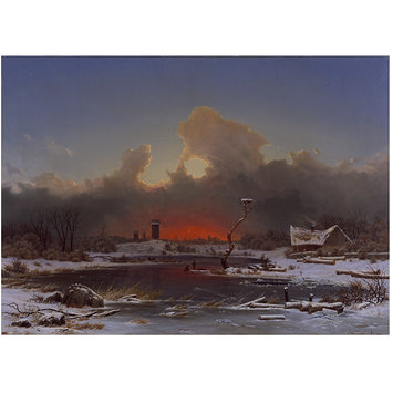 Oil painting - Frost Scene: The Setting Sun