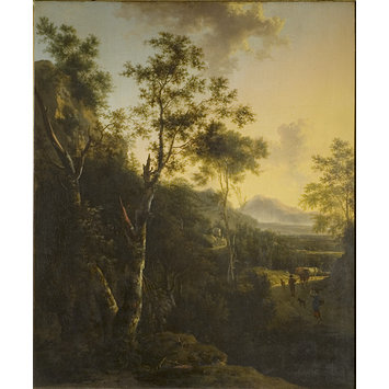 Oil painting - Rocky Landscape with Cattle and Figures