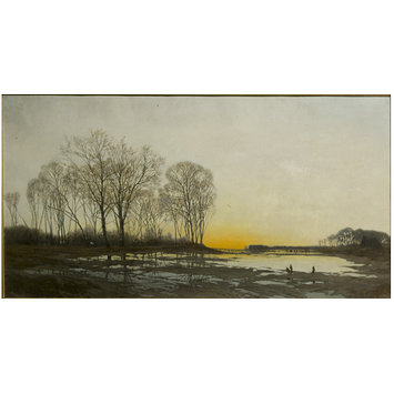 Oil painting - Evening on the Isar