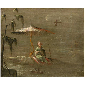 Oil painting - A Chinese Dignitary Riding a Fish (one of eleven panels with Chinoiserie decoration)