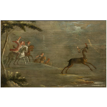 Oil painting - A Band of Tartar Horsemen Hunting an Elk (one of eleven panels with Chinoiserie decoration)