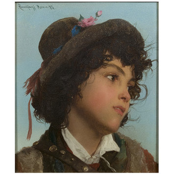 Oil painting - Head of an Italian Boy