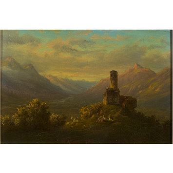 Oil painting - View of the Dent du Midi with Figures