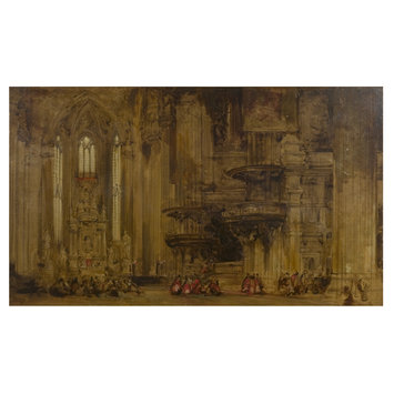 Oil painting - Interior of Milan cathedral