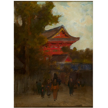 Oil painting - Japanese Scene with Red Temple; The Last Ray of Evening Light on the Red Temple of Gi-on