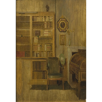 Oil painting - A Book Case (sketch for 'The Letter of Introduction')