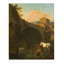 Arch of a Bridge with Peasants and Cattle (Oil painting)
