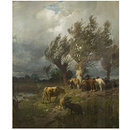 Horses and cattle in a storm (Oil painting)