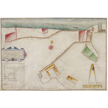Watercolour - A Map of a Farm and 12 Pieces of Land thereto belonging; lying in the Parish of Reculver in the county of Kent: Part of the Estate of Henry Waddell, Gent