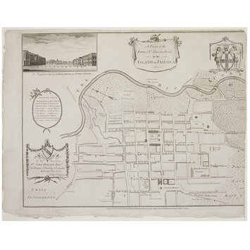 Print - A Plan of the Town of St Jago de la Vega, in the Island of Jamaica