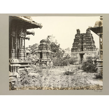 Photograph - Hampi (Vijayanagar) Bellary District: Garuda Temple, Maha Mandapa and Eastern Gopura, Vitthala Temple Complex.