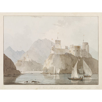 Watercolour - East View of The Forts Jellali &amp; Merani, Muscat