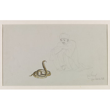 Watercolour - Snake Charmer with an Egyptian Cobra