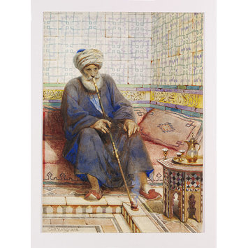 Watercolour - Abu Daood, Shaikh of the Coptic Quarter, in Cairo