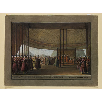 Watercolour - Interior of the Pavilion of the Grand Vizir with his Divan and Retinue