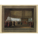 Interior of the Pavilion of the Grand Vizir with his Divan and Retinue (Watercolour)