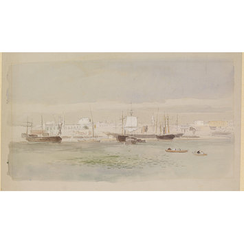 Watercolour - Shipping in Alexandria Harbour