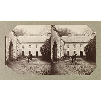 Photograph - West Wing of Dundrum House with unidentified man with camera on tripod; Photographic Study