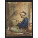 A North Indian[?] sewing with silk (Watercolour)