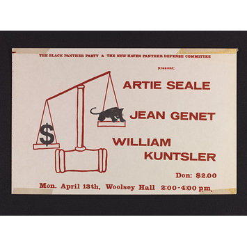 Poster - The Black Panther Party & the New Haven Panther Defense Committee present: Artie Seale, Jean Genet, William Kunstler