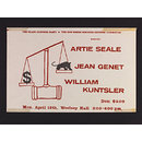 The Black Panther Party & the New Haven Panther Defense Committee present: Artie Seale, Jean Genet, William Kunstler (Poster)
