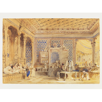 Watercolour - Interior of a Turkish Caffinet, Constantinople; Interior of a Turkish Coffee House, Constantinople