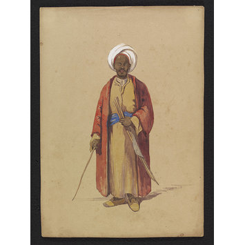 Watercolour - A Nubian selling Canes; An Arab