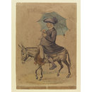 A Catholic Priest riding a Donkey (Watercolour)