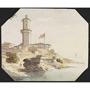 A Turkish Lighthouse, possibly Rumeli Feneri on the Upper Bosphorus at the entrance to the Black Sea (Watercolour)