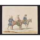 A Shaykh with his Son[?] on Mules, with their Sais [groom] (Watercolour)