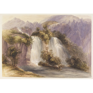 Watercolour - The Beit el-ma Falls, near Antioch; The waterfalls, Harbiye