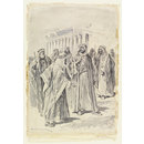 Figure in Arab dress (probably Lord Kitchener) with a group of Arab men in front of a temple (Watercolour)