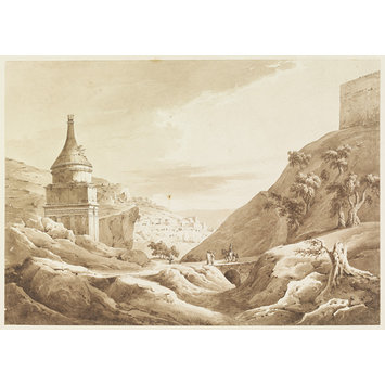 Wash drawing - Tomb of Absalom