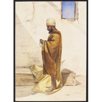 Watercolour - Abyssinian Christian in Cairo.  On Pilgrimage to El-Tin