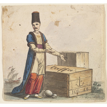 Watercolour - Figure of a Merchant with a crate marked caffee