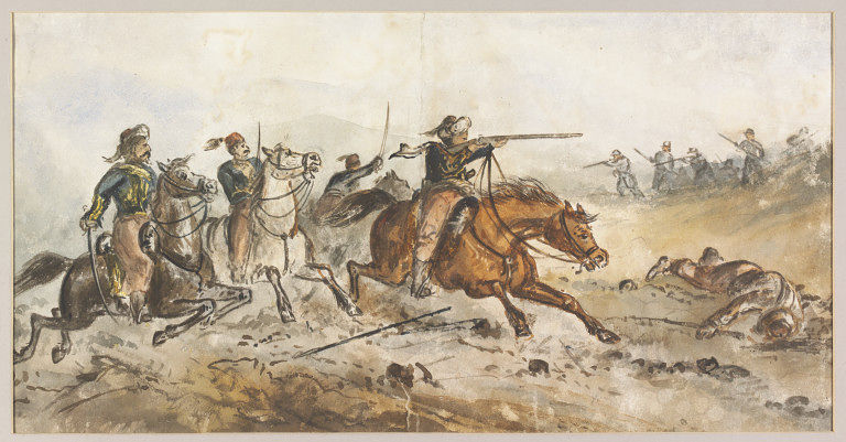 A watercolor image on the Russo-Turkish war of 1877-1878.