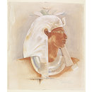 Head of Queen Makare Hatshepsut: copy of a painted low relief in the Mortuary Temple of Hatshepsut, Deir al-Bahri (Watercolour)