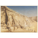 Excavation of the Great Temple of Ramesses II at Abu Simbel (Watercolour)