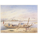 J.W.P.'s Kanja moored beside the East bank of the Nile at Luxor (Watercolour)